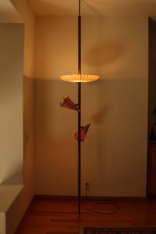 1950s Adjustable Three Shade Stiffel Extension Pole Lamp