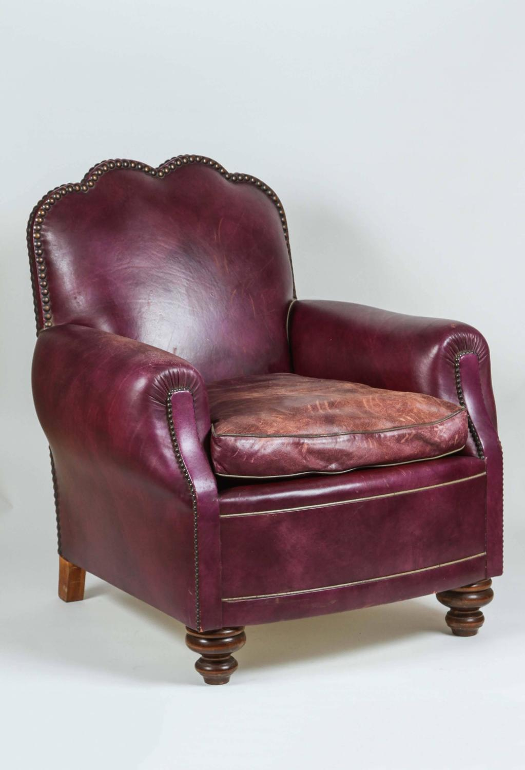 british purple leather club chair for sale at 1stdibs. Black Bedroom Furniture Sets. Home Design Ideas
