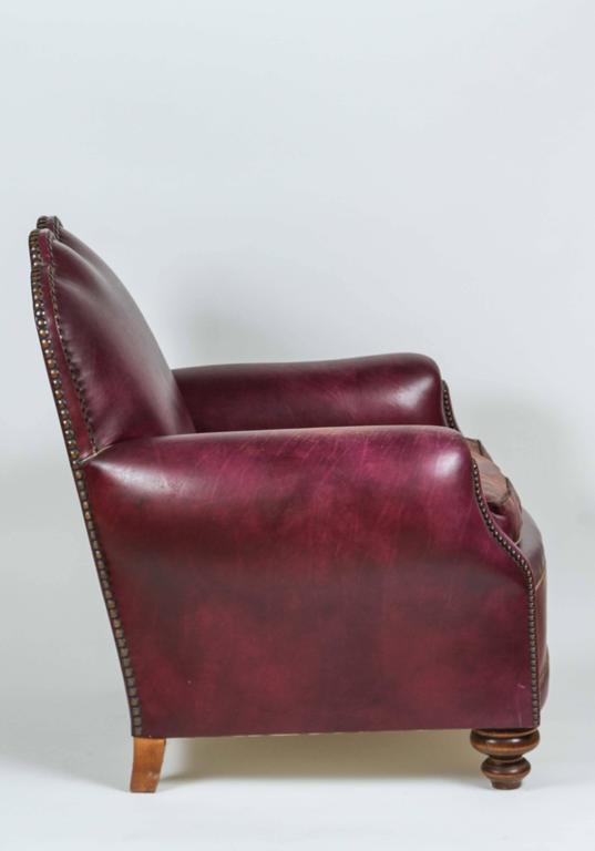 20th Century French Leather Club Lounge Chair For Sale