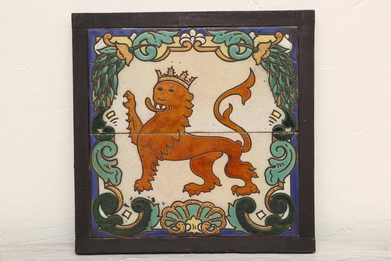 Ceramic Pair of Framed Antique Armorial Crest Tiles For Sale