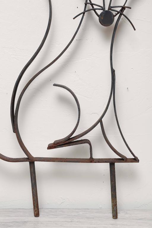 American Mid-Century Iron Fox Sculpture For Sale