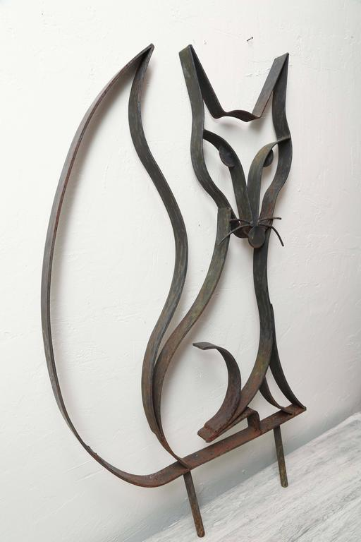 Forged Mid-Century Iron Fox Sculpture For Sale