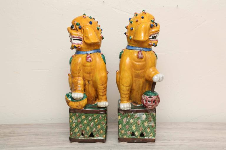 Pair Of Antique Chinese Foo Dogs In Good Condition For West Palm Beach