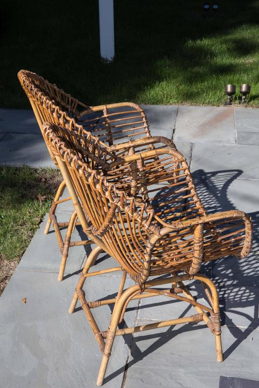 Italian Pair of Rattan Armchairs For Sale