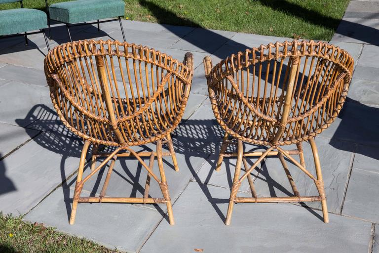 Hand-Woven Pair of Rattan Armchairs For Sale
