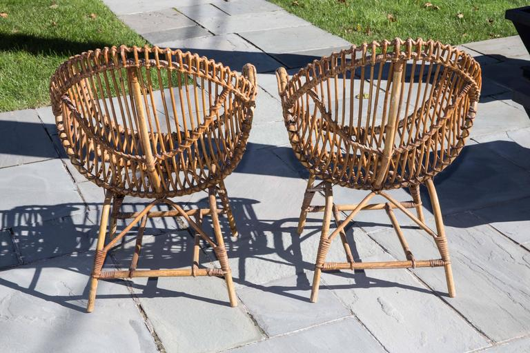 Pair of Rattan Armchairs In Good Condition For Sale In Bridgehampton, NY