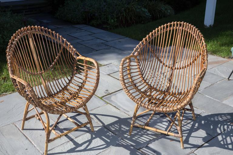 Pair of Rattan Armchairs For Sale 1