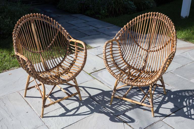 Pair of Rattan Armchairs For Sale 2