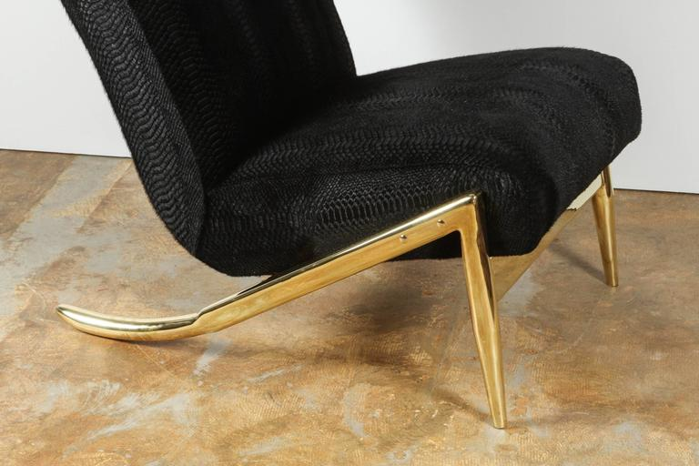 American Paul Marra Slipper Chair in Brass with Laser Cut Cowhide Python For Sale