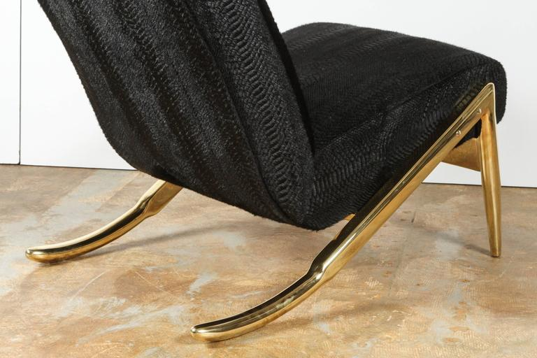 Paul Marra Slipper Chair in Brass with Laser Cut Cowhide Python 6