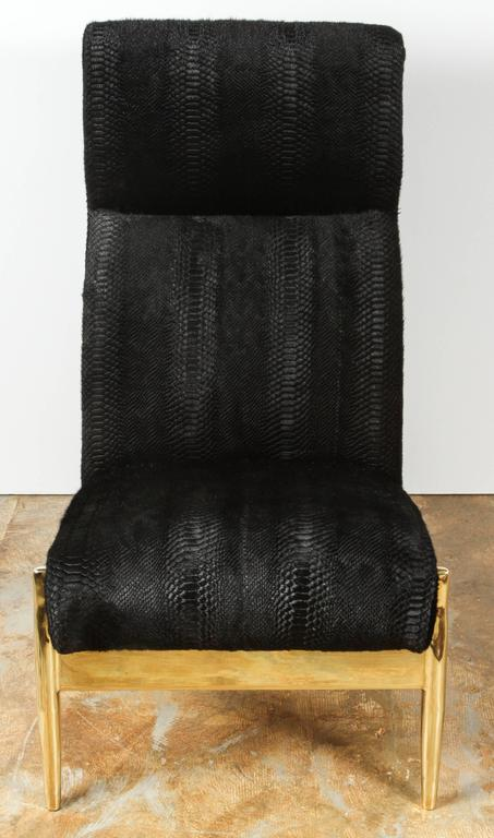 Paul Marra Slipper Chair in Brass with Laser Cut Cowhide Python For Sale 2
