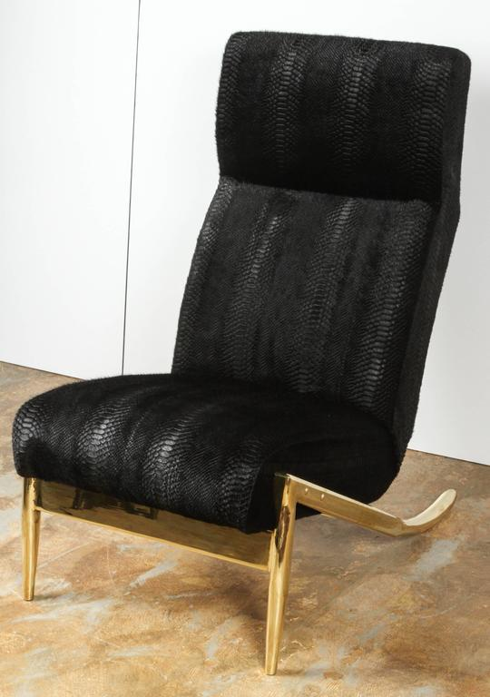 Paul Marra Slipper Chair in Brass with Laser Cut Cowhide Python 9