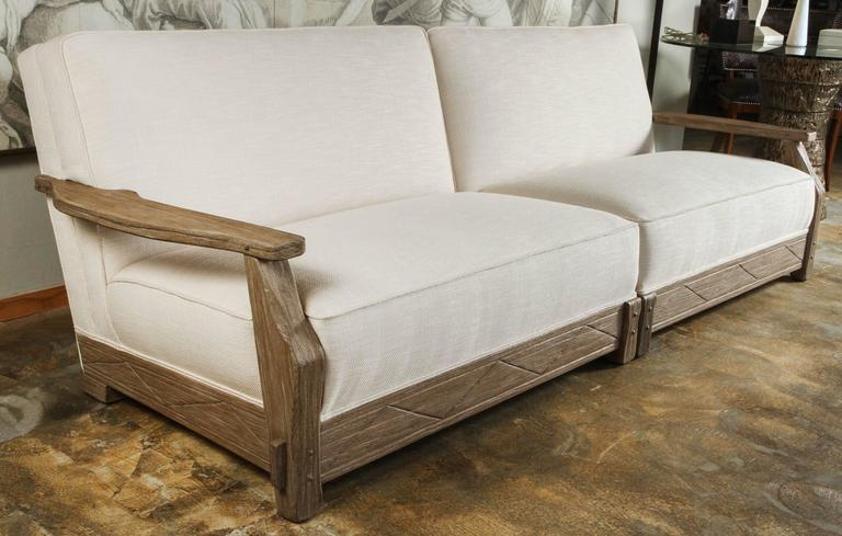 Mid-Century Distressed Oak Sofa New Finish and Upholstery For Sale 1