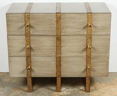 Paul Marra Three-Drawer Chest in Bleached Walnut and Inset Iron Band