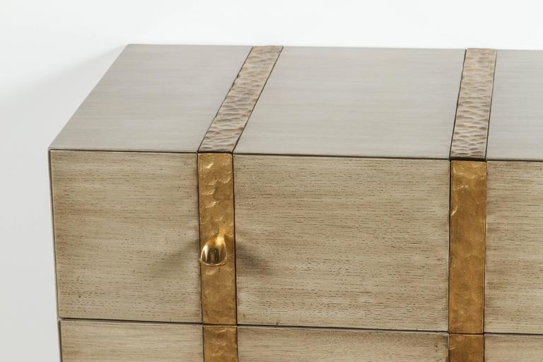 Paul Marra Three-Drawer Banded Chest in Bleached Oak and Inset Iron Band 2