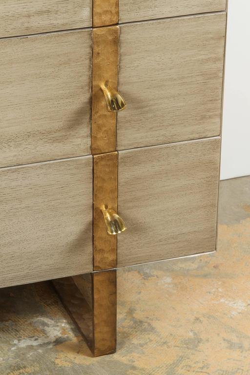 Paul Marra Three-Drawer Banded Chest in Bleached Oak and Inset Iron Band 3