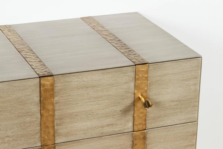 Paul Marra Three-Drawer Banded Chest in Bleached Oak and Inset Iron Band 4