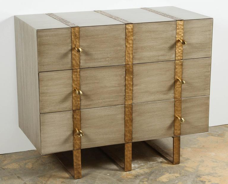 Paul Marra Three-Drawer Banded Chest in Bleached Oak and Inset Iron Band 6