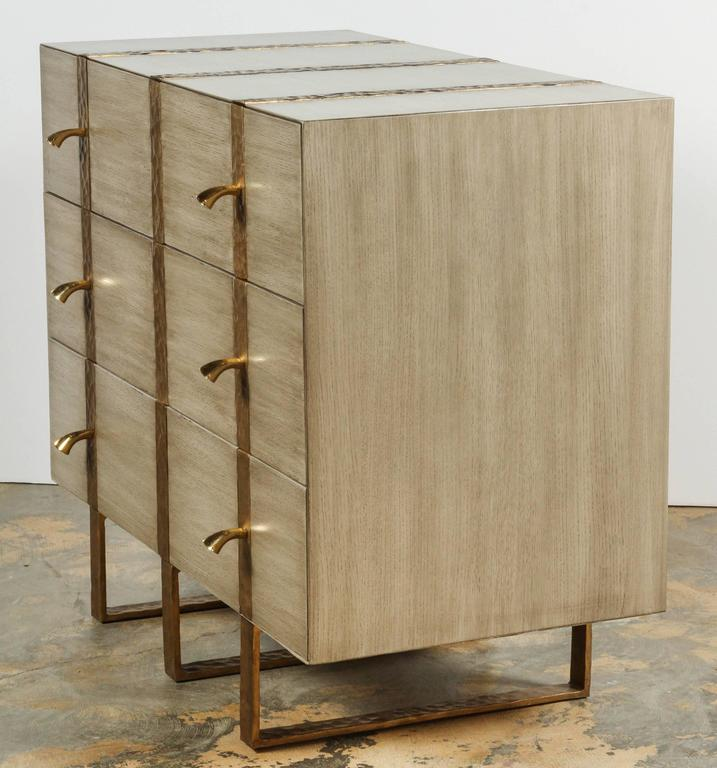 Paul Marra Three-Drawer Banded Chest in Bleached Oak and Inset Iron Band 9