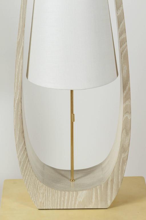 American Wishbone Table Lamp in Gray Ceruse Oak For Sale