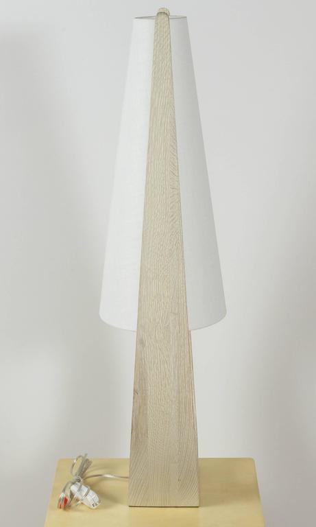 Contemporary Wishbone Table Lamp in Gray Ceruse Oak For Sale