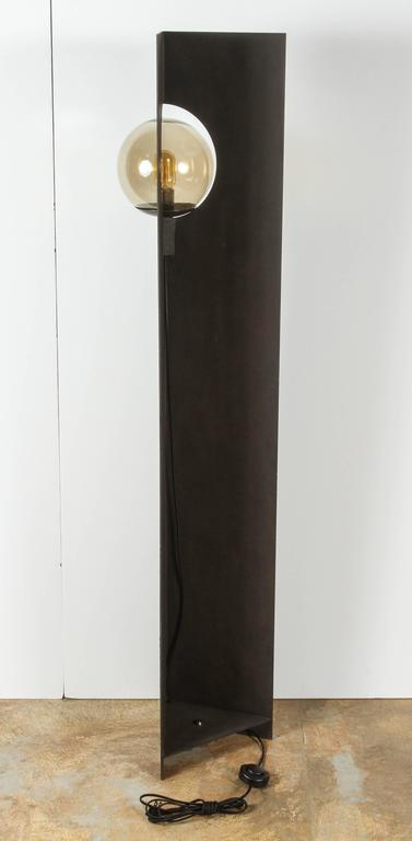 Paul Marra Textured Steel Solitaire Floor Lamp 8