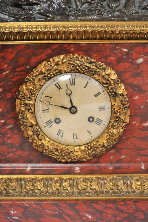 Napoleon III French 19th Century Marble Mantel Clock Set For Sale
