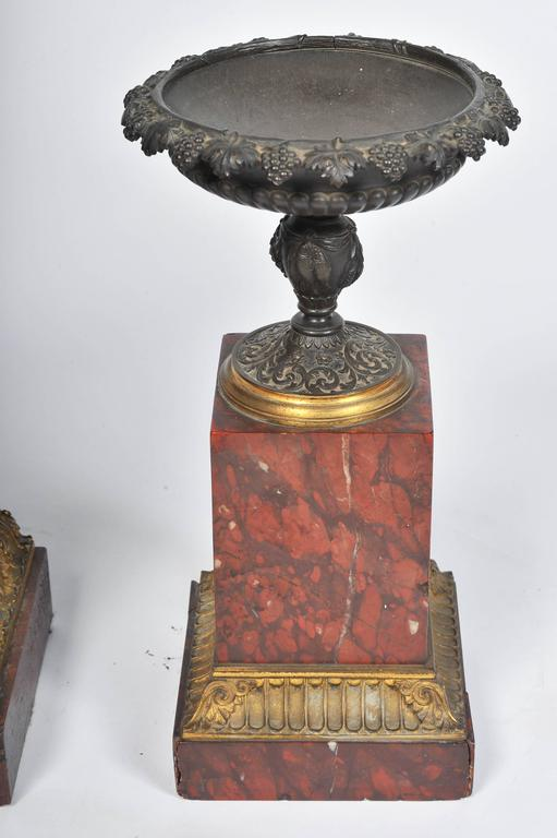 Bronze French 19th Century Marble Mantel Clock Set For Sale