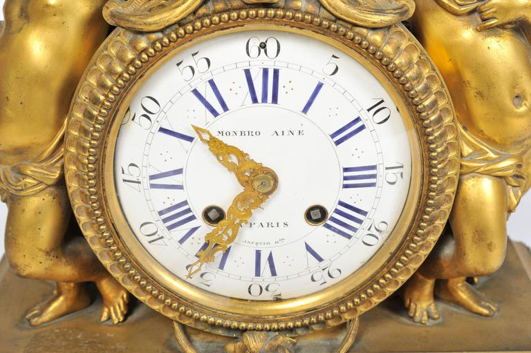 Napoleon III 19th Century French Mantel Clock, by 'Monbro Aine, Paris' For Sale