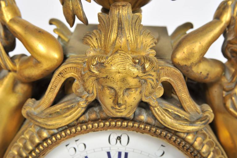 Carved 19th Century French Mantel Clock, by 'Monbro Aine, Paris' For Sale