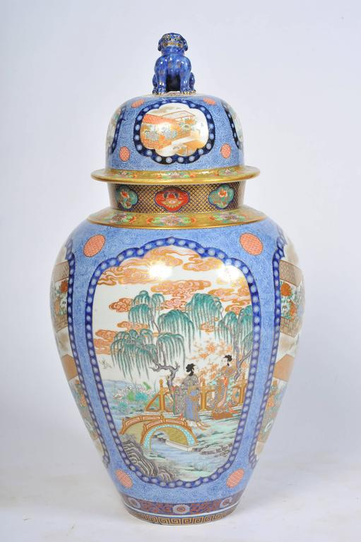 Large Japanese Fukagawa Imari Vase At 1stdibs