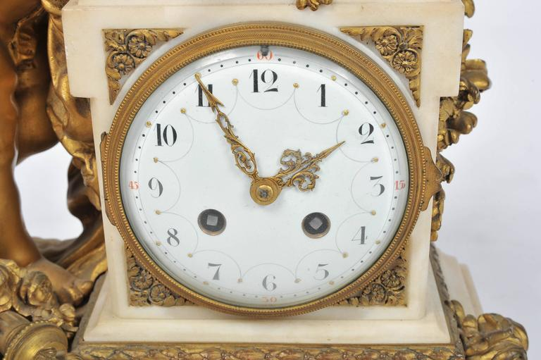 Louis XVI style Mantle Clock, 19th Century In Good Condition For Sale In Brighton, Sussex