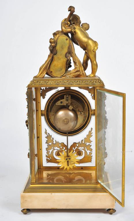 Gilt 19th Century Louis XVI style,  Mantel Clock 17