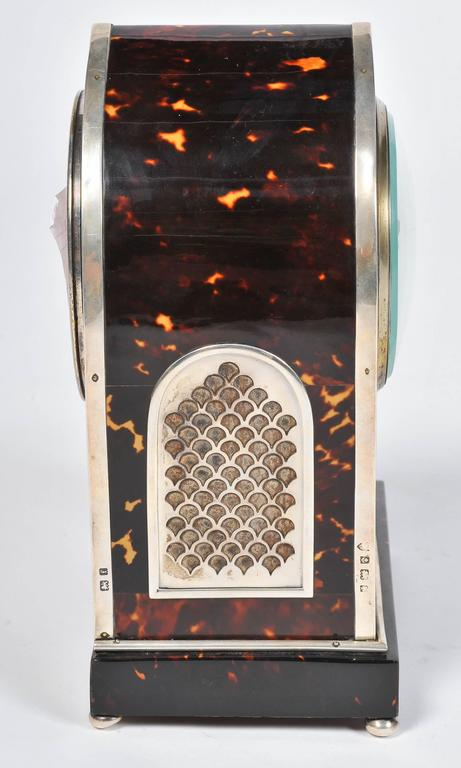 English Silver and Tortoiseshell Mantel Clock For Sale