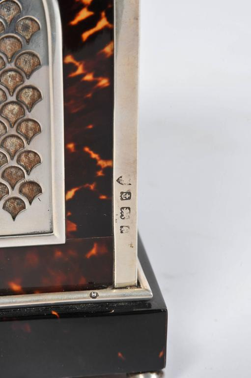 Inlay Silver and Tortoiseshell Mantel Clock For Sale
