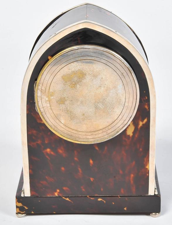 Silver and Tortoiseshell Mantel Clock For Sale 1