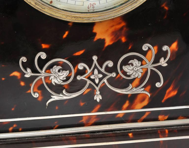 Silver and Tortoiseshell Mantel Clock For Sale 2