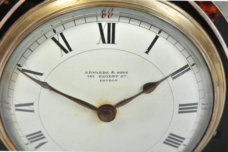 Silver and Tortoiseshell Mantel Clock For Sale 4