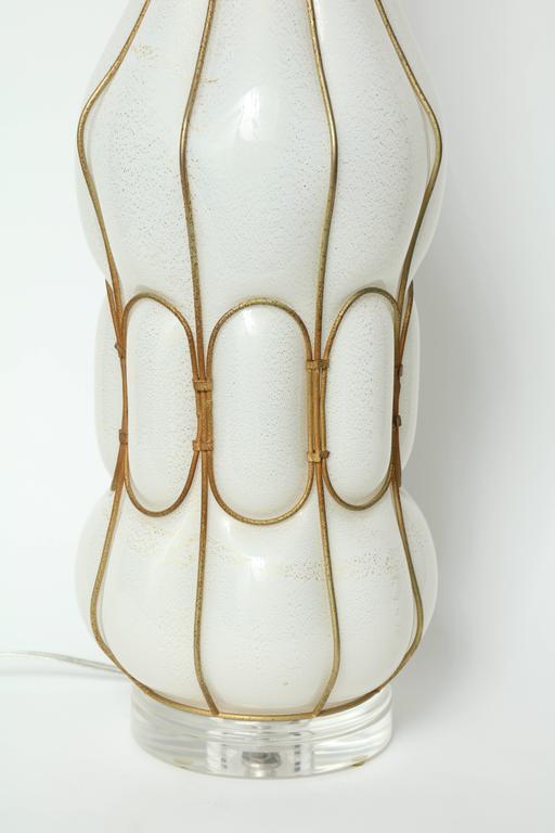 Italian Marbro Caged White Murano Glass Lamp For Sale