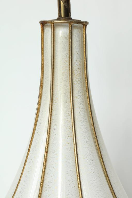 Brass Marbro Caged White Murano Glass Lamp For Sale