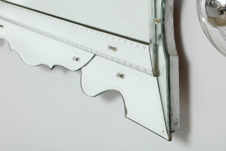 Italian 1950s Modernist Venetian Mirror In Excellent Condition For Sale In New York, NY
