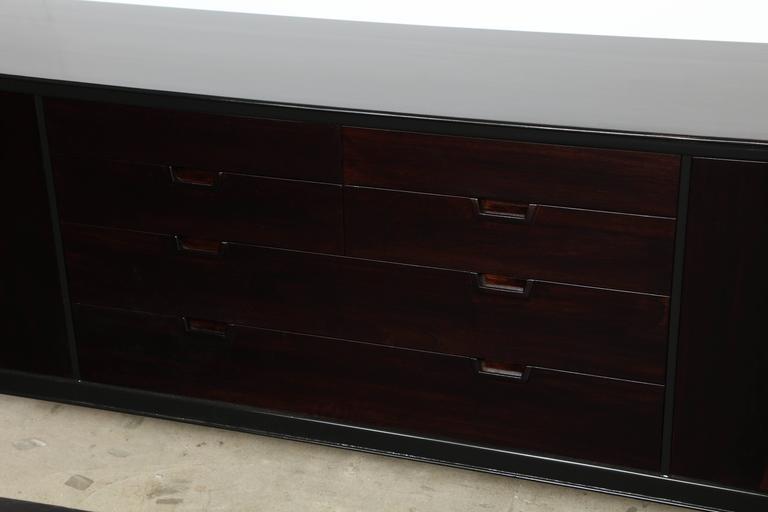 Lacquered John Stuart/Janus Black Lacquer and Walnut Dresser For Sale