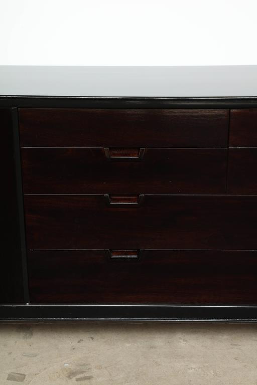 20th Century John Stuart/Janus Black Lacquer and Walnut Dresser For Sale