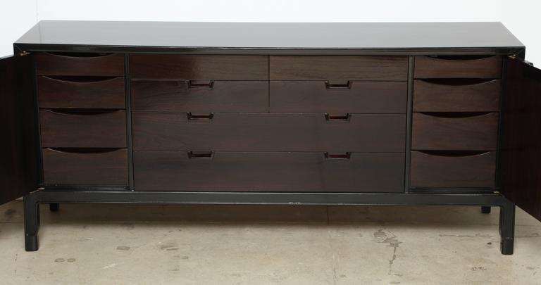 John Stuart/Janus Black Lacquer and Walnut Dresser For Sale 1