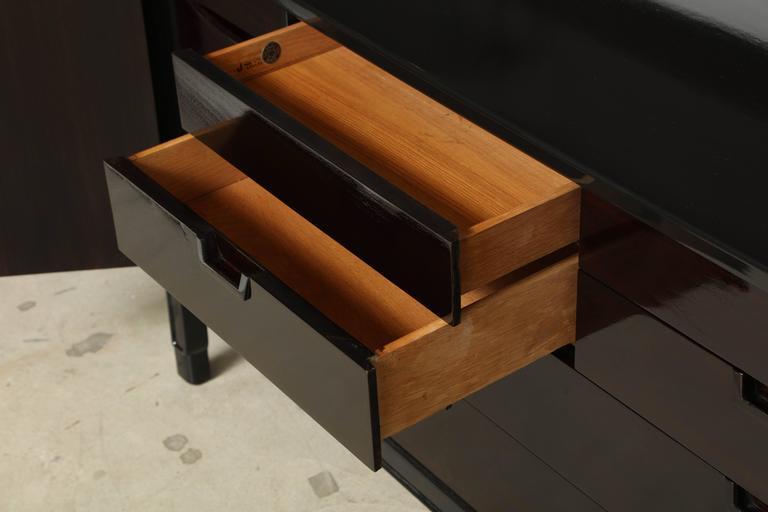 John Stuart/Janus Black Lacquer and Walnut Dresser For Sale 2