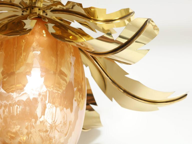 Pair of Venetian Peach Glass and Brass Leaves Pendant Chandeliers In Excellent Condition For Sale In Mt Kisco, NY
