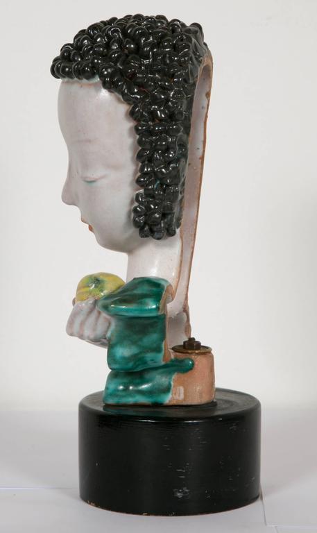 Beautiful Ceramic Lady's Head, by Goldscheider, Austrian, circa 1930 In Excellent Condition In Paris, FR