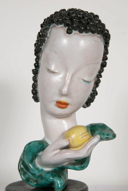 Beautiful Ceramic Lady's Head, by Goldscheider, Austrian, circa 1930 2