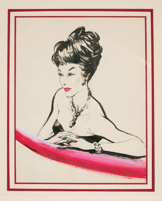 Drawing representing an elegant lady, black ink and red gouache. Workshop sale stamp at the back.