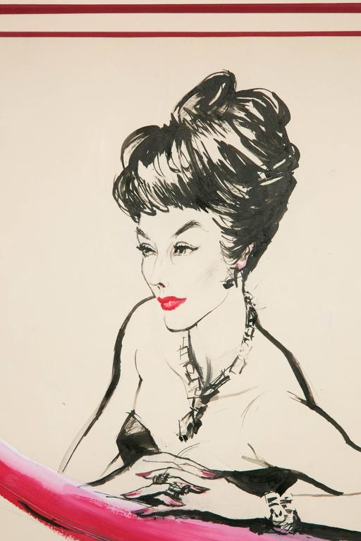 French Elegant Lady, Drawing by Bouët-Willaumez, circa 1950